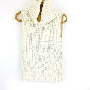 Diesel NEW Thick Knit Cream Sleeveless Cowl Neck S